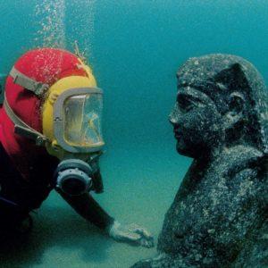 Diver with Sphynx underwater