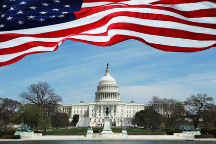 U.S. Capitol Building with Flag Banner